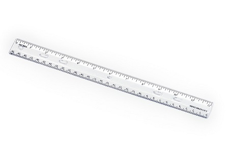 12 in. clear plastic ruler